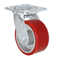 5X2 RED POLYURETHANE ON IRON WHEEL, RIGID CASTER, MEDIUM-HEAVY DUTY