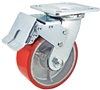 "5"" x 2"" Total Lock Caster with Red Polyurethane on Steel Wheel - 1,000 lbs Capacity"