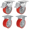 "5"" x 2"" Total Lock Caster Set - 2 Total Locking Swivel & 2 Rigid Casters with Red Polyurethane on Steel Wheel - 4,000 lbs Capacity Per Set of 4"