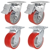 "5"" x 2"" Total Lock Caster Set - 2 Total Locking Swivel & 2 Plain Swivel Casters with Red Polyurethane on Steel Wheel - 4,000 lbs Capacity Per Set of 4"