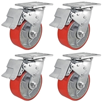 "5"" x 2"" Total Lock Caster Set of 4 with Red Polyurethane on Steel Wheel - 4,000 lbs Capacity Per Set of 4"