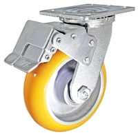 "6"" x 2"" Total Lock Caster with Orange Polyurethane on Aluminum Wheel - 1,250 lbs Capacity"