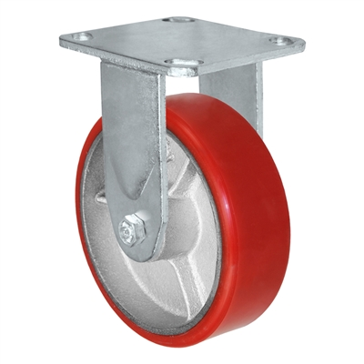 6X2 RED POLYURETHANE ON IRON WHEEL, RIGID CASTER, MEDIUM-HEAVY DUTY