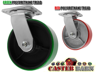 6X2 POLYURETHANE ON IRON WHEEL, SWIVEL CASTER, MEDIUM-HEAVY DUTY