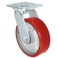 6X2 RED POLYURETHANE ON IRON WHEEL, SWIVEL CASTER, MEDIUM-HEAVY DUTY