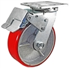"6"" x 2"" Total Lock Caster with Red Polyurethane on Steel Wheel - 1,200 lbs Capacity"