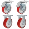 "6"" x 2"" Total Lock Caster Set of 4 with 2 Total Locking Swivel & 2 Rigid Casters with Red Polyurethane on Steel Wheel - 4,800 lbs Capacity Per Set of 4"