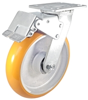 "8"" x 2"" Total Lock Caster with Orange Polyurethane on Aluminum Wheel - 1,250 lbs Capacity"