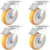 "8"" x 2"" Total Lock Caster Set of 4 with Orange Poly on Aluminum Wheel - 5,000 lbs Capacity Set of 4"