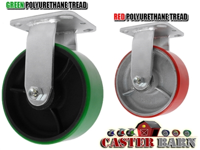 8X2 POLYURETHANE ON IRON WHEEL, RIGID CASTER, MEDIUM-HEAVY DUTY