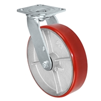 8X2 RED POLYURETHANE ON IRON WHEEL, SWIVEL CASTER, MEDIUM-HEAVY DUTY