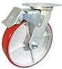 "8"" x 2"" Total Lock Caster with Red Polyurethane on Steel Wheel - 1,250 lbs Capacity"