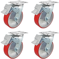 "8"" x 2"" Total Lock Caster Set of 4 with Red Polyurethane on Steel Wheel - 5,000 lbs Capacity Set of 4"
