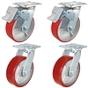 "8"" x 2"" Total Lock Caster Set of 4 - 2 Total Locking & 2 Swivel Casters with Red Polyurethane on Steel Wheel - 5,000 lbs Capacity Set of 4"