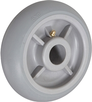 "6"" X 2"" CROWNED GRAY THERMO RUBBER (NON MARKING) WHEEL - 500 LBS CAPACITY"