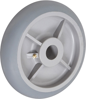 "8"" X 2"" CROWNED GRAY THERMO RUBBER (NON MARKING) WHEEL - 600 LBS CAPACITY"