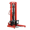 "Manual stacker, 2200 lbs cap. 63"" lift height, adjustable forks"