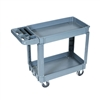 Service / Utility Cart 16″x30″, 500 lb. capacity - The PSC1630 is a two-shelve high impact plastic service/utility cart with cup holder and compartment bins.