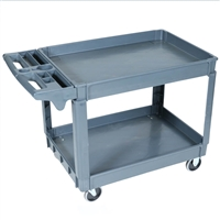Service / Utility Cart 24″x36″, 500 lb. capacity - The PSC2436 is a two-shelve high impact plastic service/utility cart with cup holder and compartment bins.