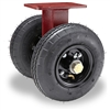 "Hamilton Pneumatic Dual-Wheel Rigid Caster with 8"" Pneumatic Air-Filled Tire with 3/4"" Straight Roller Bearing"