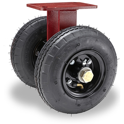 "Hamilton Pneumatic Dual-Wheel Rigid Caster with 10"" Pneumatic Air-Filled Tire with 3/4"" Straight Roller Bearing"