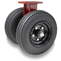 "Hamilton Pneumatic Dual-Wheel Rigid Caster with 18"" Pneumatic Air-Filled Tire with 1 1/4"" Precision Tapered Roller Bearings"