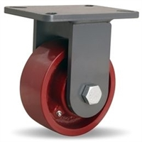 "Hamilton Champion Rigid Caster with 6"" x 2 1/2"" Metal Wheel with 1"" Straight Roller Bearing"