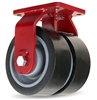 "Hamilton Extra Heavy Duty Dual-Wheel Rigid Caster with 6"" x 3"" Duralast XC® Polyurethane (70D) on Cast Iron Wheels with 3/4"" Sealed Precision Ball Bearings - 4,500 lbs Capacity"