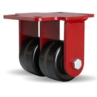 "Hamilton Heavy Service Dual-Wheel Rigid Caster with 3 1/4"" x 2"" Plastex Phenolic Wheels with 3/4"" Straight Roller Bearings"