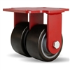 "Hamilton Heavy Service Dual-Wheel Rigid Caster with 4"" x 2"" Duralast XC® Polyurethane (70D) on Cast Iron Wheels with 1/2"" Sealed Precision Ball Bearings"