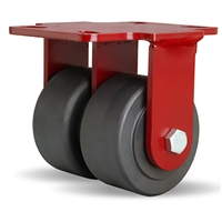 "Hamilton Heavy Service Dual-Wheel Rigid Caster with 4"" x 2"" Nylastâ""¢ High Performance Cast Nylon Wheels with 1/2"" Sealed Precision Ball Bearings - 3,000 LBS Capacity"