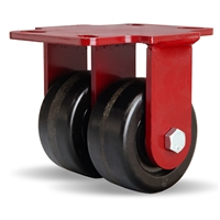 "Hamilton Heavy Service Dual-Wheel Rigid Caster with 4"" x 2"" Plastex Phenolic Wheels with 3/4"" Straight Roller Bearings - 1,200 lbs Capacity"