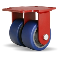 "Hamilton Heavy Service Dual-Wheel Rigid Caster with 4"" x 2"" Ergo-Glide Polyurethane (85A) on Cast Iron Wheels with 1/2"" Sealed Precision Ball Bearings"