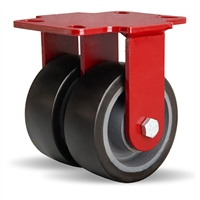 "Hamilton Heavy Service Dual-Wheel Rigid Caster with 5"" x 2"" Duralast XC® Polyurethane (70D) on Cast Iron Wheels with 1/2"" Sealed Precision Ball Bearings - 2,100 lbs Capacity"