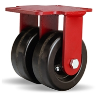 "Hamilton Heavy Service Dual-Wheel Rigid Caster with 5"" x 2"" Plastex Phenolic Wheels with 3/4"" Straight Roller Bearings - 1,600 lbs Capacity"