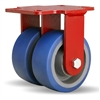 "Hamilton Heavy Service Dual-Wheel Rigid Caster with 5"" x 2"" Ergo-Glide Polyurethane (85A) on Cast Iron Wheels with 1/2"" Sealed Precision Ball Bearings - 1,500 lbs Capacity"