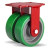 "Hamilton Heavy Service Dual-Wheel Rigid Caster with 6"" x 2"" Duralast® Polyurethane (95A) on Cast Iron Wheels with 1/2"" Sealed Precision Ball Bearings - 2,100 lbs Capacity"