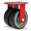 "Hamilton Heavy Service Dual-Wheel Rigid Caster with 6"" x 2"" Duralast XC® Polyurethane (70D) on Cast Iron Wheels with 1/2"" Sealed Precision Ball Bearings - 2,400 lbs Capacity"