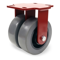 "Hamilton Heavy Service Dual-Wheel Rigid Caster with 6"" x 2"" DuraGlide Polyurethane (95A) on Cast Iron Wheels with 1/2"" Sealed Precision Ball Bearings - 2,900 lbs Capacity"
