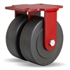"Hamilton Heavy Service Dual-Wheel Rigid Caster with 6"" x 2"" Nylastâ""¢ High Performance Cast Nylon Wheels with 1/2"" Sealed Precision Ball Bearings - 3,000 lbs Capacity"