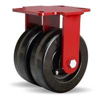 "Hamilton Heavy Service Dual-Wheel Rigid Caster with 6"" x 2"" Plastex Phenolic Wheels with 3/4"" Straight Roller Bearings - 1,900 lbs Capacity"