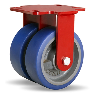 "Hamilton Heavy Service Dual-Wheel Rigid Caster with 6"" x 2"" Ergo-Glide Polyurethane (85A) on Cast Iron Wheels with 1/2"" Sealed Precision Ball Bearings - 1,700 lbs Capacity"