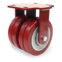 "Hamilton Heavy Service Dual-Wheel Rigid Caster with 6"" x 2"" Swivel-EAZ® Polyurethane on Aluminum Core Twin Wheels with 1/2"" Sealed Precision Ball Bearings - 2,500 LBS Capacity"