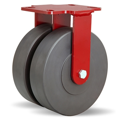 "Hamilton Heavy Service Dual-Wheel Rigid Caster with 8"" x 2"" Nylastâ""¢ High Performance Cast Nylon Wheels with 1/2"" Sealed Precision Ball Bearings - 3,000 lbs Capacity"
