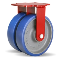 "Hamilton Heavy Service Dual-Wheel Rigid Caster with 8"" x 2"" Ergo-Glide Polyurethane (85A) on Cast Iron Wheels with 1/2"" Sealed Precision Ball Bearings - 2,100 lbs Capacity"