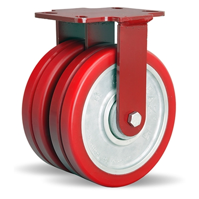 "Hamilton Heavy Service Dual-Wheel Rigid Caster with 8"" x 2"" Swivel-EAZ® Polyurethane on Aluminum Core Twin Wheels with 1/2"" Sealed Precision Ball Bearings - 3,000 LBS Capacity"
