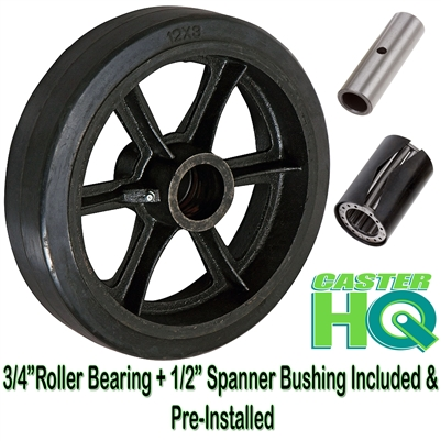 "12"" x 2-1/2"" Rubber on Cast Iron Wheel - 1,200 lbs cap."