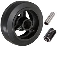 "5"" x 2"" Rubber on Cast Iron Wheel - 450 lbs cap."