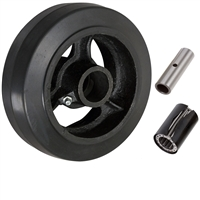 "6"" x 2"" Rubber on Cast Iron Wheel - 500 lbs cap."