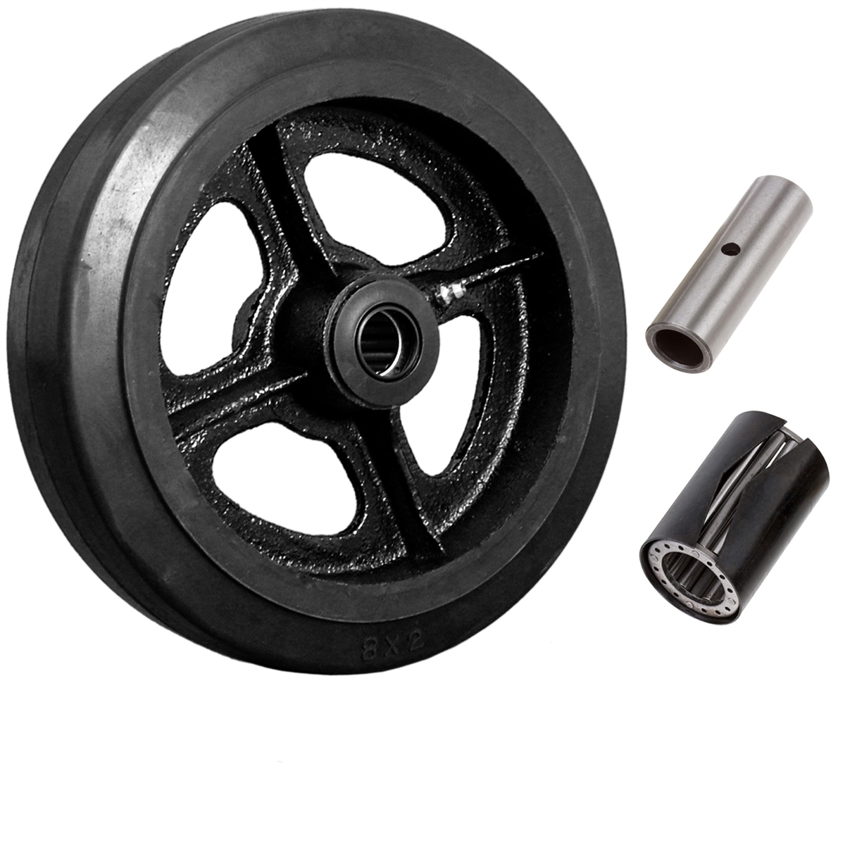 Set of 2 V-Groove 6 x 2 Iron Wheels with Roller Bearing and 1//2 ID Spanner